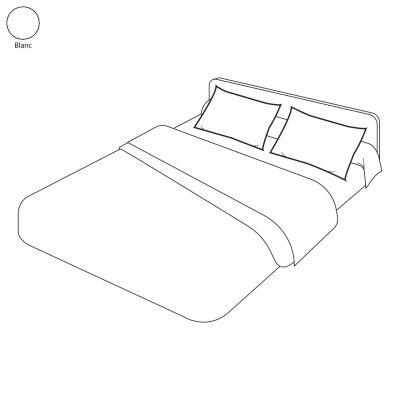 taie d 39 oreiller uni blanc 65x65 linge de maison. Black Bedroom Furniture Sets. Home Design Ideas