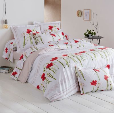 taie de traversin amaryllis imprim motif floral 43x140 linge de maison. Black Bedroom Furniture Sets. Home Design Ideas