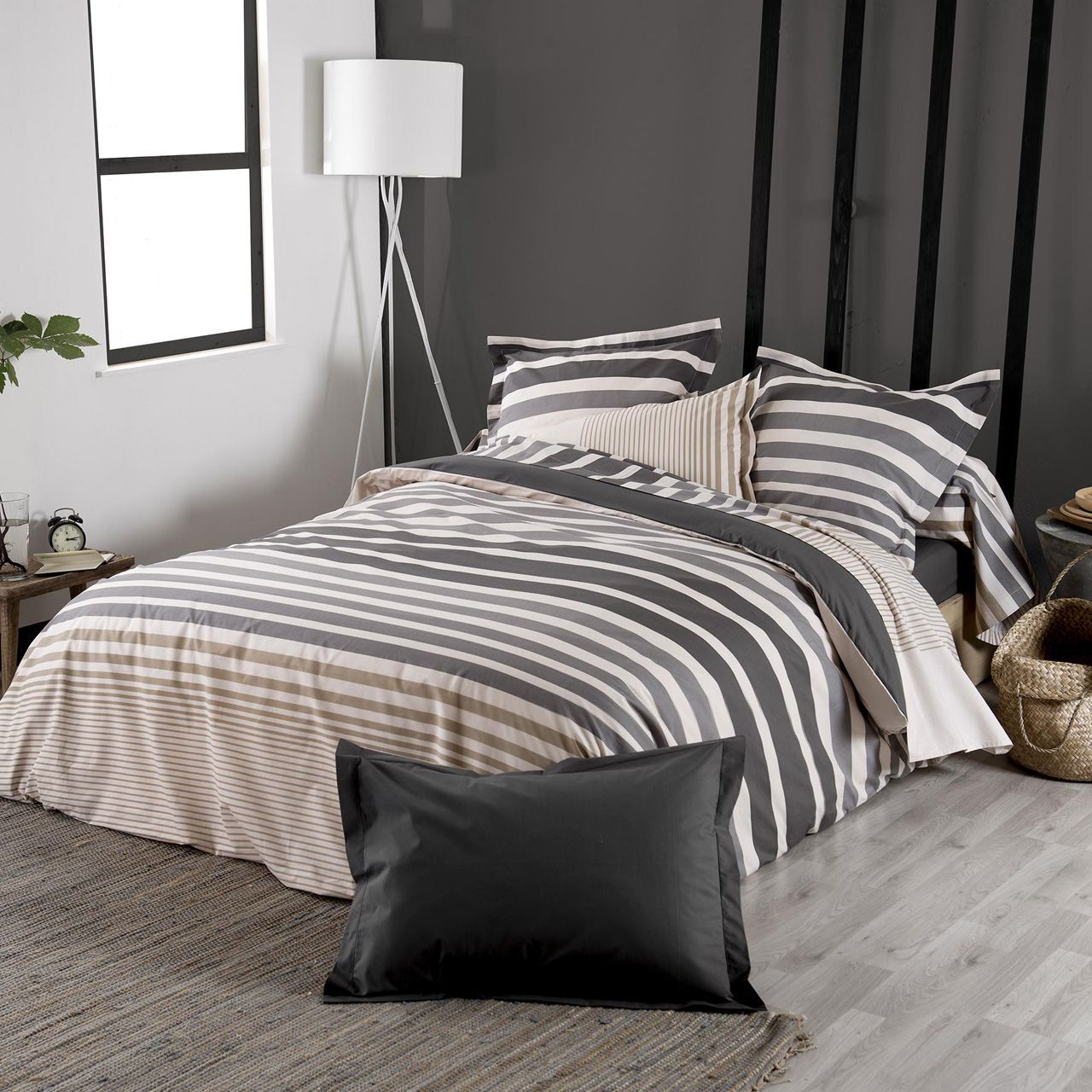 taie de traversin stripe rayures ficelle percale 43x140. Black Bedroom Furniture Sets. Home Design Ideas