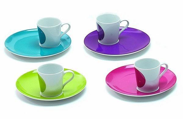 Tasse caf porcelaine expresso punto set de 4 art de la table for Set de table multicolore
