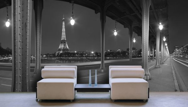 papier peint paris la nuit 100x52 5. Black Bedroom Furniture Sets. Home Design Ideas