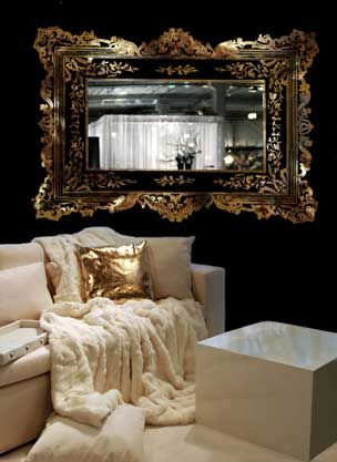 sticker mural grand cadre baroque d. Black Bedroom Furniture Sets. Home Design Ideas