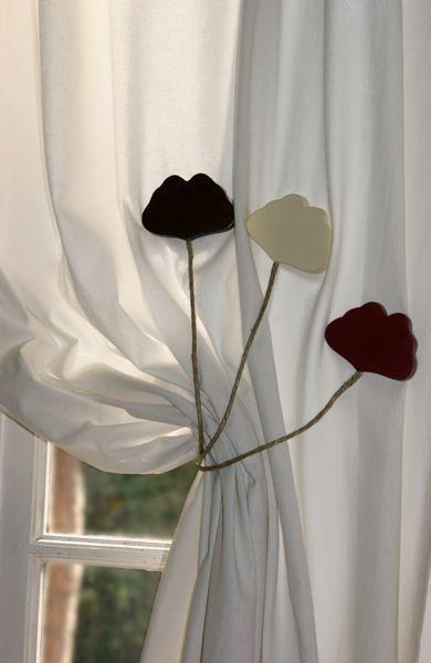 Embrasses de rideaux bois Gingko rouge par 2 - Décoration | decotaime.fr