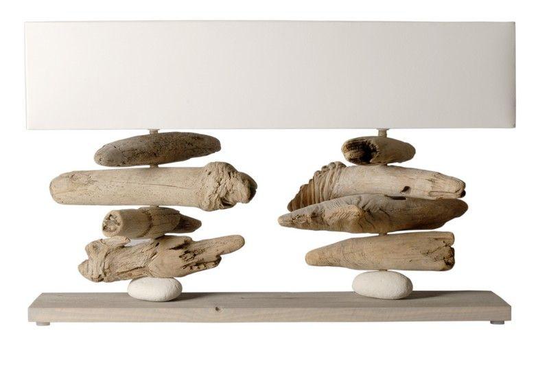 lampe à poser bois flotté quai des grumes nao blanche - luminaires