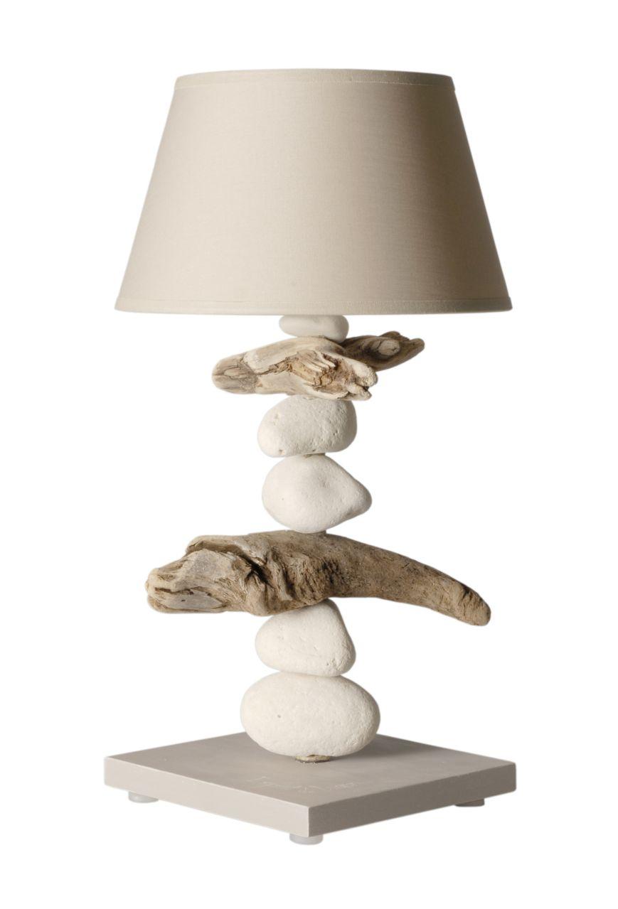 Lampe de chevet esprit de lagon cendre brune coc 39 art cr ations - Lampe de chevet nature ...