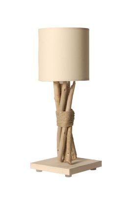 lampe de chevet fagot bois flott cordages blanc cass. Black Bedroom Furniture Sets. Home Design Ideas