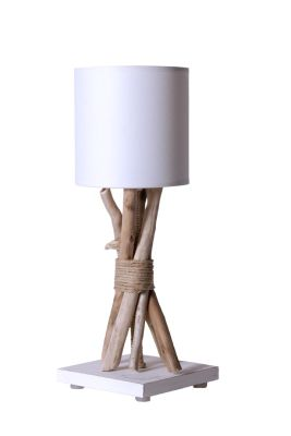 lampe de chevet fagot bois flott cordages blanc. Black Bedroom Furniture Sets. Home Design Ideas