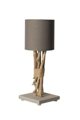 lampe de chevet fagot bois flott cordages gris. Black Bedroom Furniture Sets. Home Design Ideas