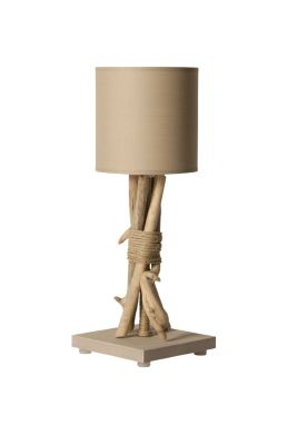 lampe de chevet fagot bois flott cordages taupe luminaires. Black Bedroom Furniture Sets. Home Design Ideas