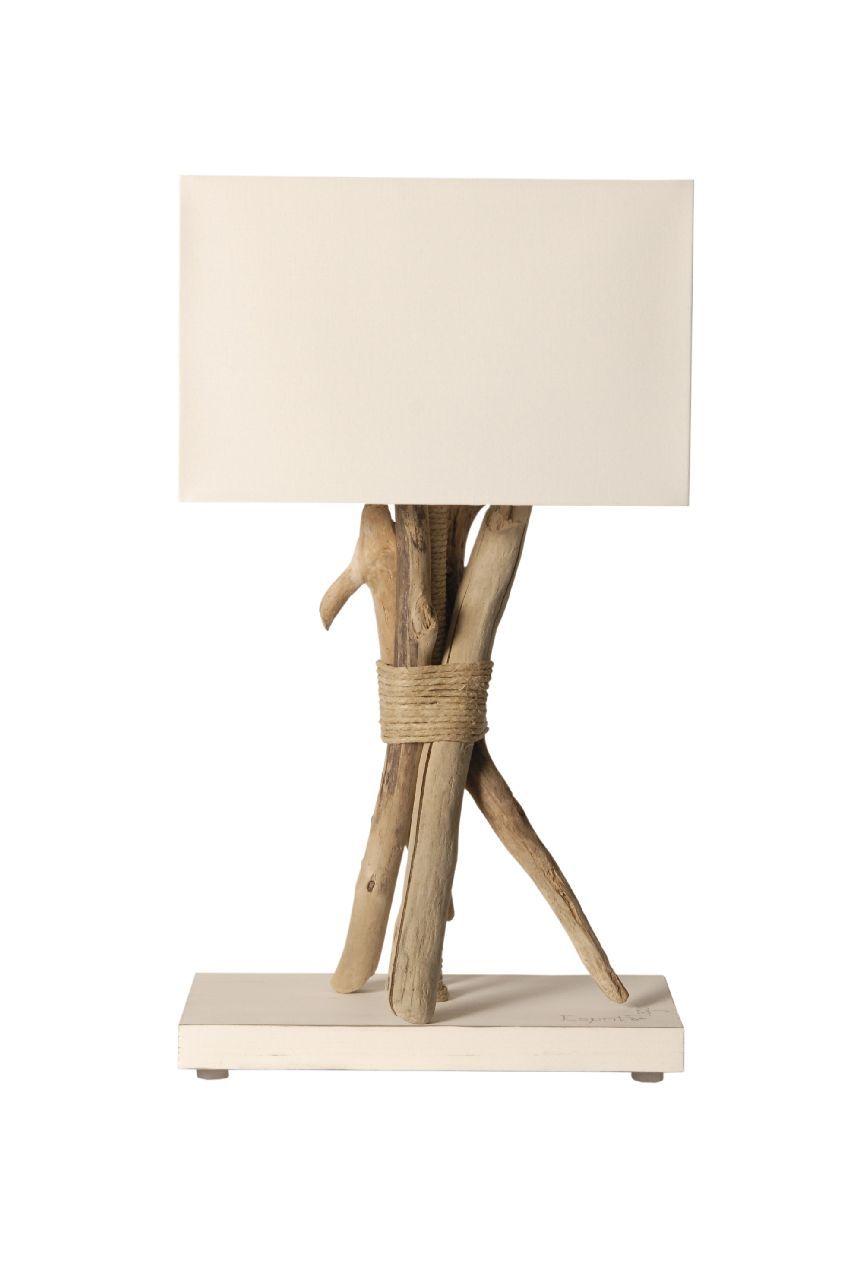 Lampe Sur Pied Fagot Chanvre Bois Flotte Cordages Blanc Coc Art Creations