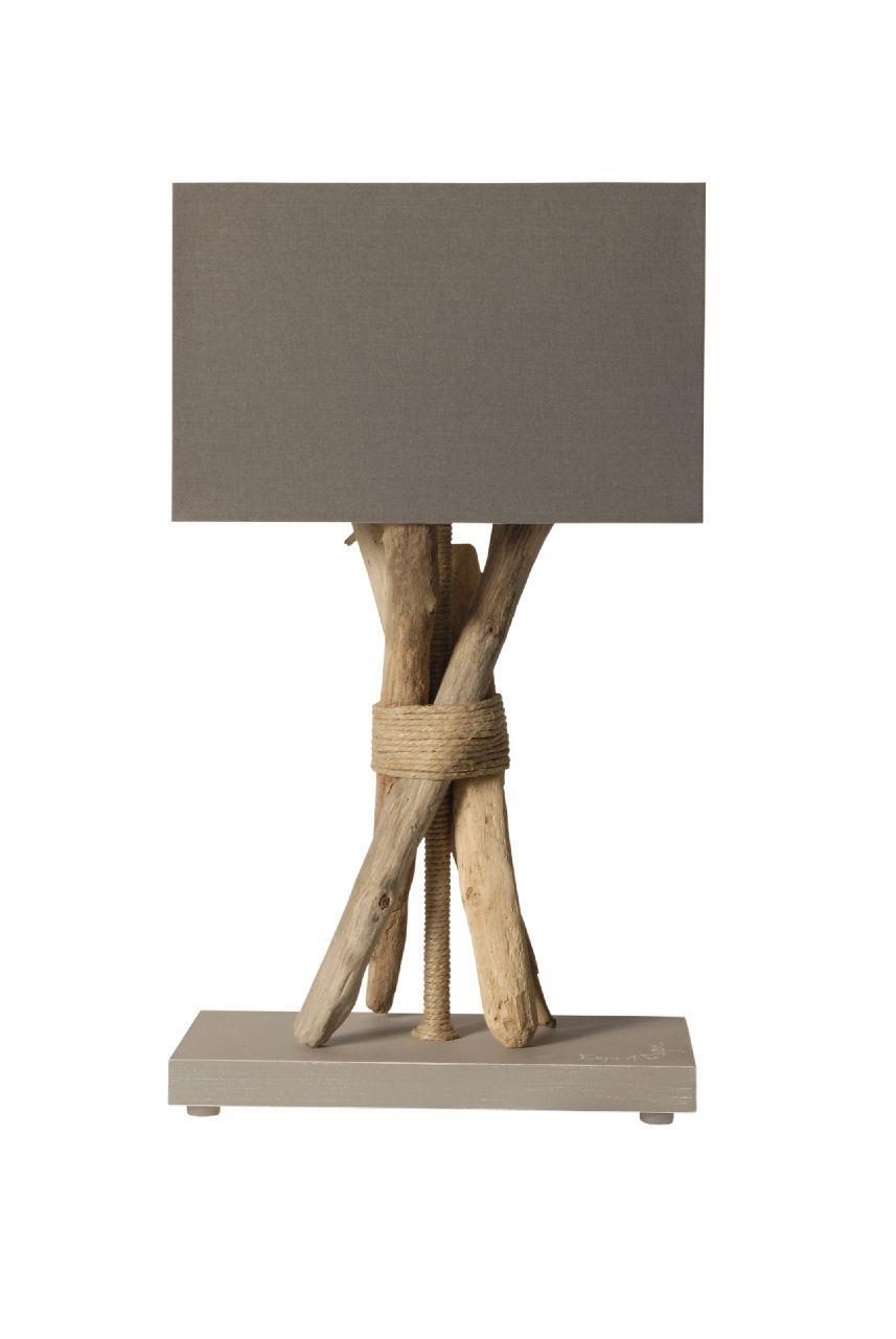 Lampe Sur Pied Fagot Chanvre Bois Flotte Cordages Gris Coc Art Creations