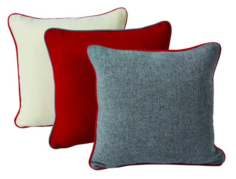 coussin antipode laine gris passepoil rouge 45x45. Black Bedroom Furniture Sets. Home Design Ideas