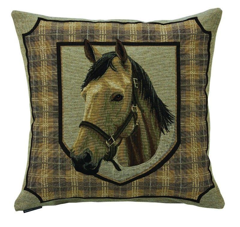 coussin confluence recto cheval blanc envers uni noir 45x45. Black Bedroom Furniture Sets. Home Design Ideas
