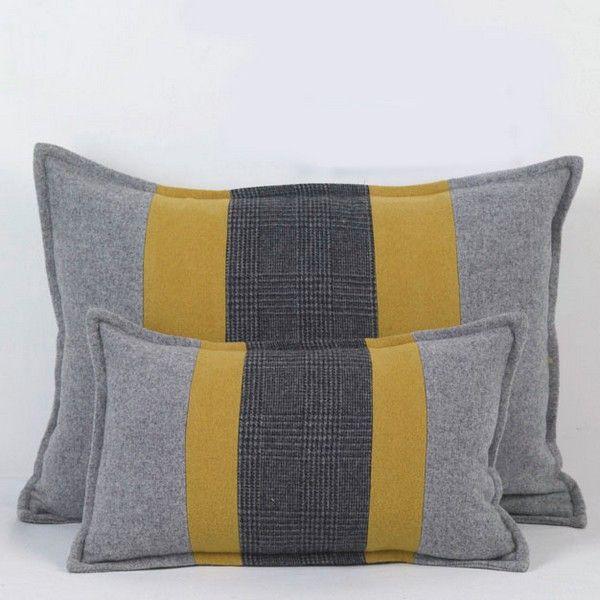 coussin elixir rayures moutarde gris petit 30x45 d coration. Black Bedroom Furniture Sets. Home Design Ideas