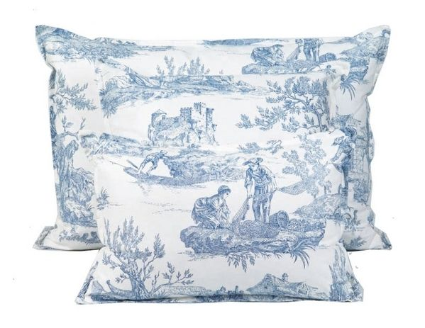 coussin emotion toile de jouy bleu 45x45 d coration. Black Bedroom Furniture Sets. Home Design Ideas