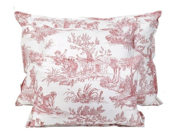 coussin emotion toile de jouy rouge 45x45 d coration. Black Bedroom Furniture Sets. Home Design Ideas