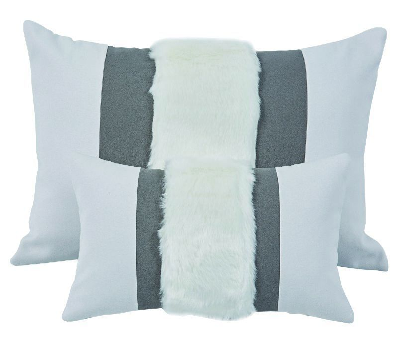 coussin murmure recto verso gris fourrure bande. Black Bedroom Furniture Sets. Home Design Ideas