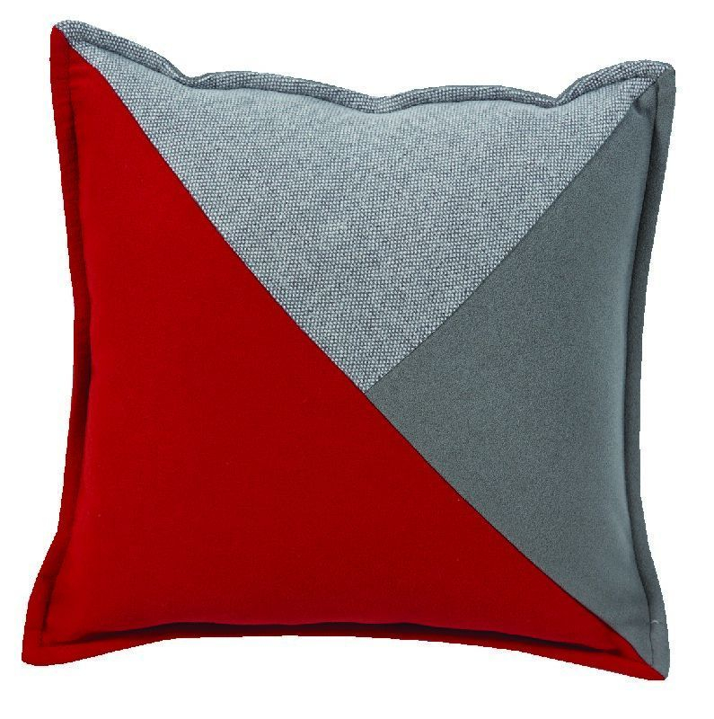coussin pulsation recto en triangles gris rouge gris verso gris 45x45. Black Bedroom Furniture Sets. Home Design Ideas