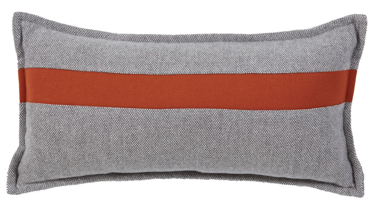coussin th or me recto verso oeil de perdrix gris bande cuivre 50x25. Black Bedroom Furniture Sets. Home Design Ideas