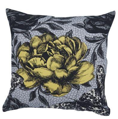 coussin fleur noir et jaune farandole 45x45 d coration. Black Bedroom Furniture Sets. Home Design Ideas