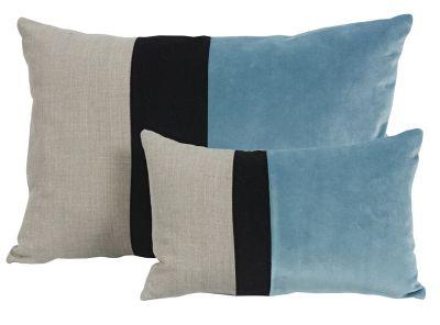 Coussin velours bleu et noir et lin naturel