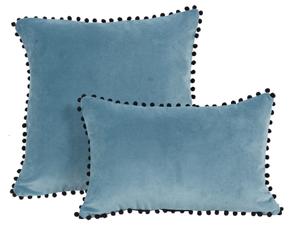 coussin velours Coussin velours bleu + pompons noirs Farandole 45x30   Décoration  coussin velours