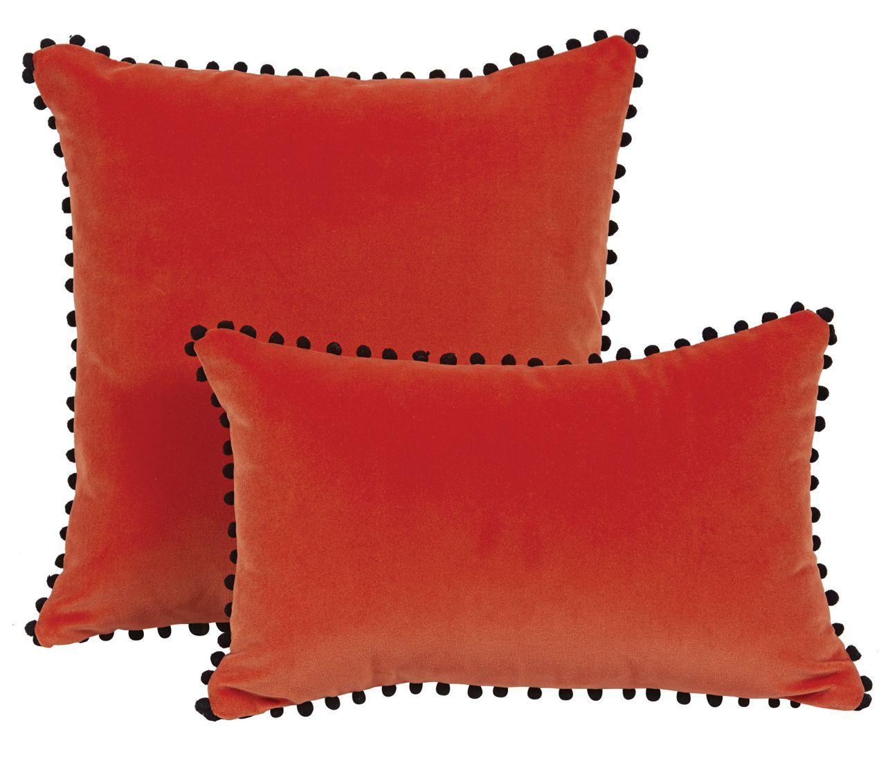 coussin velours Coussin velours orange + pompons noirs Farandole 45x30  coussin velours