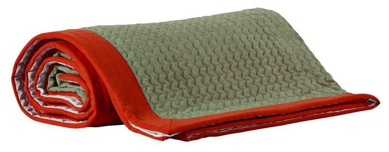 dessus de lit capitol tissu lin bande laine orange 190x250. Black Bedroom Furniture Sets. Home Design Ideas