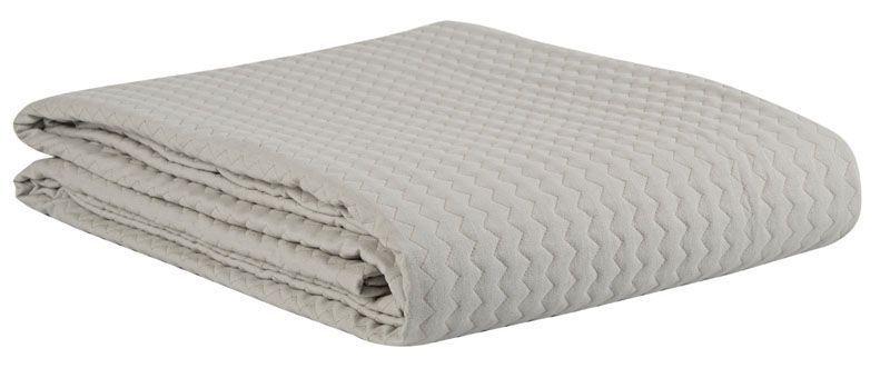 dessus de lit matelass esquisse uni gris clair 190x250. Black Bedroom Furniture Sets. Home Design Ideas