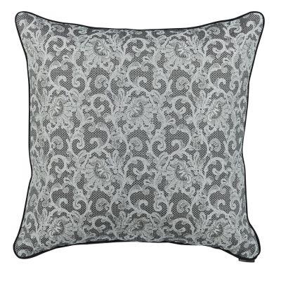 housse de coussin motifs baroques passepoil noir fusain. Black Bedroom Furniture Sets. Home Design Ideas