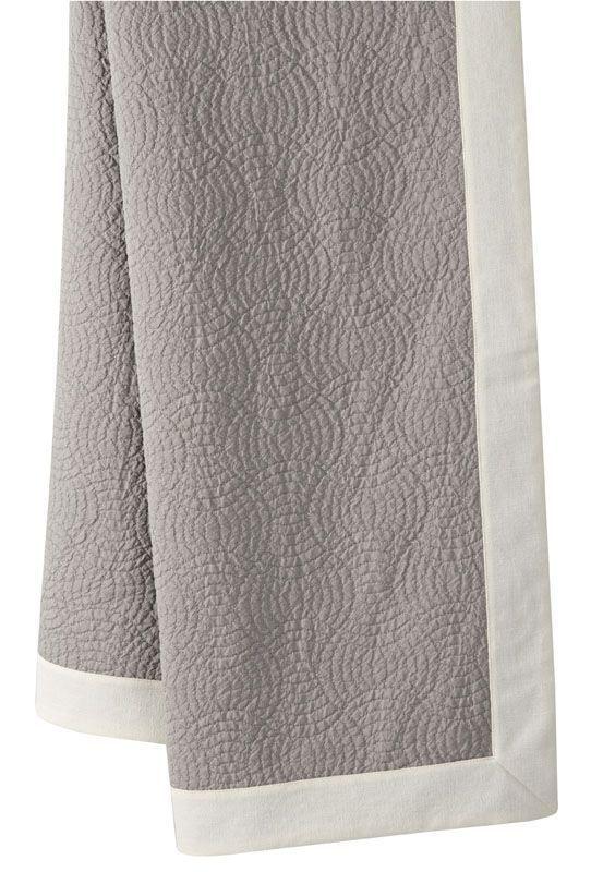 plaid pr lude piqu de coton gris bandes rapport es blanc 140x170 linge de maison. Black Bedroom Furniture Sets. Home Design Ideas