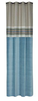 rideau velours bleu et lin naturel farandole 140x270 d coration. Black Bedroom Furniture Sets. Home Design Ideas