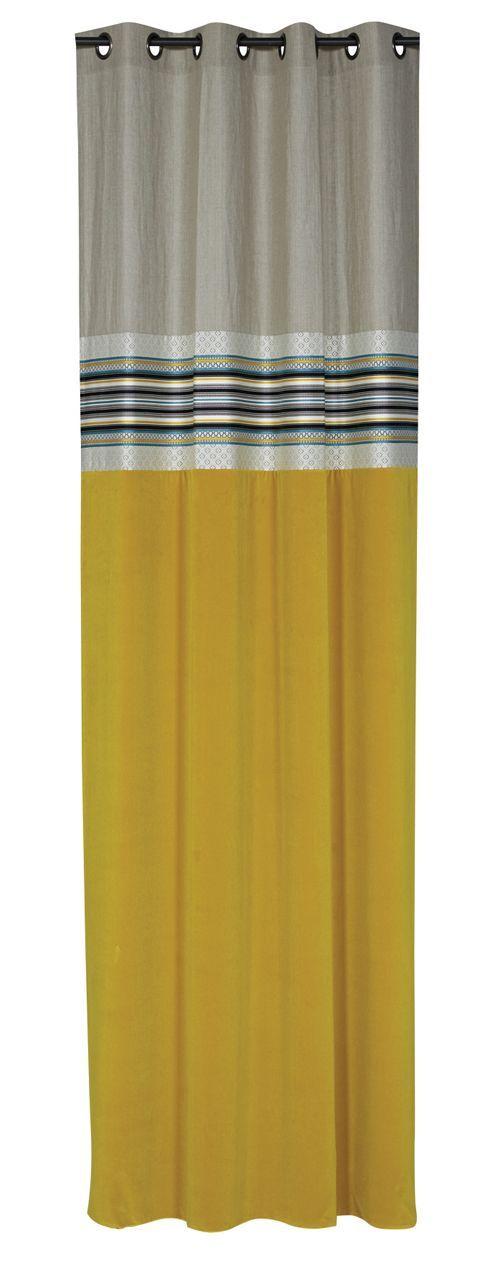 rideau velours jaune et lin naturel farandole 140x270 autrement dit. Black Bedroom Furniture Sets. Home Design Ideas