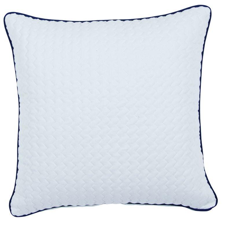 taie d 39 oreiller brighton tissu lin blanc finition passepoil bleu 65x65 linge de maison. Black Bedroom Furniture Sets. Home Design Ideas
